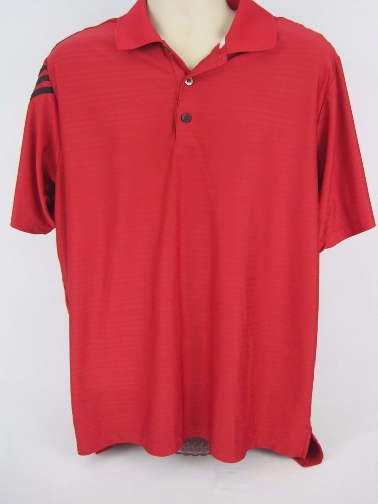 Men s Adidas Golf Shirt Polo Climacool Red Short Sleeve Large ... 8dd7866c6
