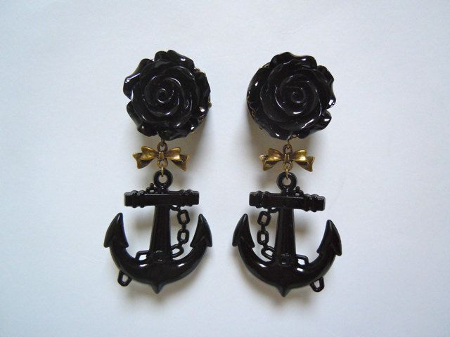 Black Rose and Anchor Plugs with Antique bronze filigree and bow 1 inch (25mm) gauges for stretched ears by Gauge Queen. $27.00, via Etsy. These will be mine once I get my ears stretched