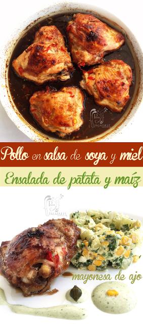 Perniles En Salsa De Soya Y Miel Con Ensalada De Patata Y Maíz Perniles De Pollo Recetas De Pernil De Pollo Comida Nutritiva Recetas