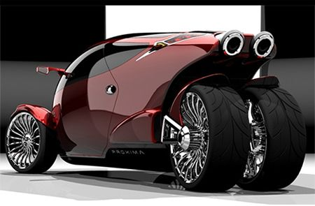 Proxima The Car Bike Hybrid Concept A Two Seater Vehicle With View In Front And Motorcycle Look At Rear