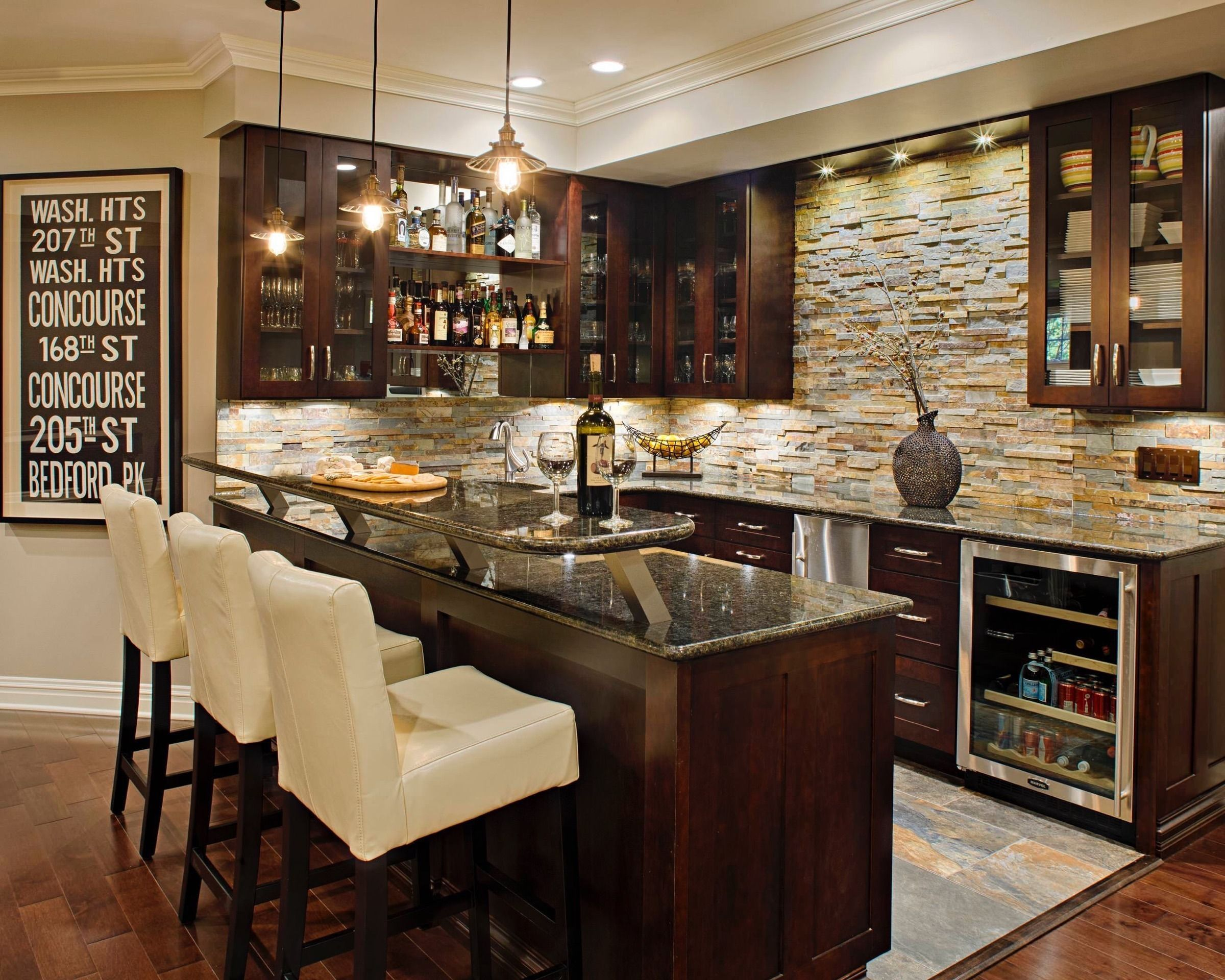 Nice Basement Full Size Wet Bars| Basement Masters