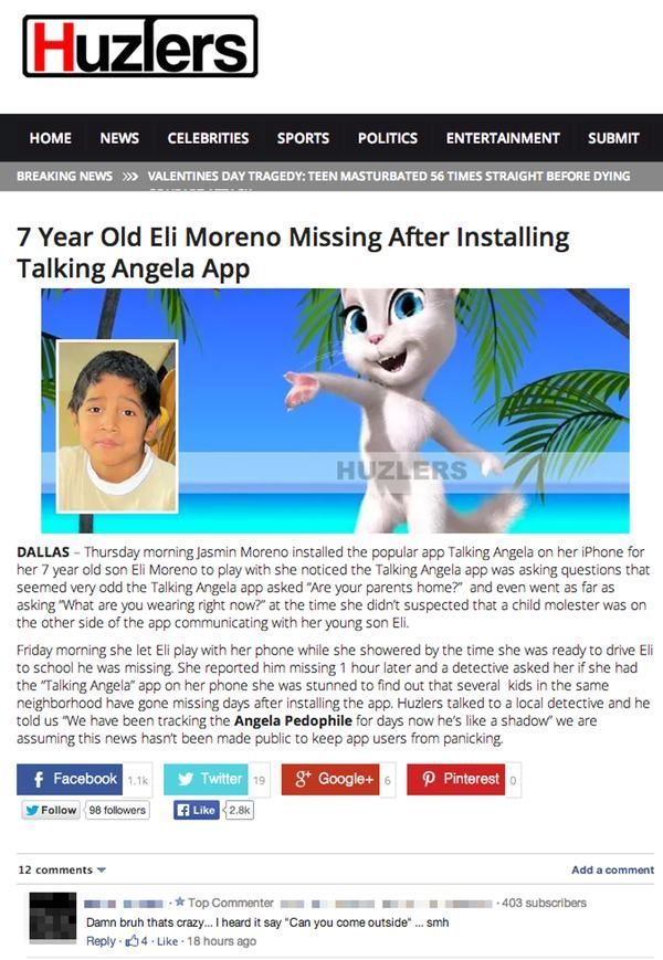 THIS LITTLE BOY HAS GONE MISSING AFTER TALKING ANGELA. DO
