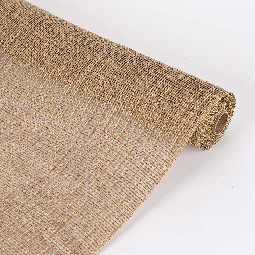 Faux Burlap Plaid Mesh Natural - 21 inch x 5