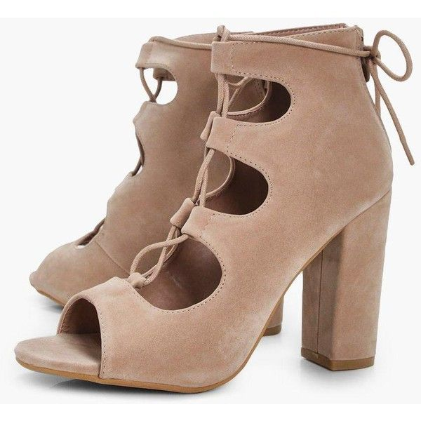 3e3cca92950c4 Boohoo Jasmine Ghillie Lace Up Block Heels ($20) ❤ liked on Polyvore  featuring shoes, sandals, high heels sandals, flatform sandals, block heel  sandals, ...