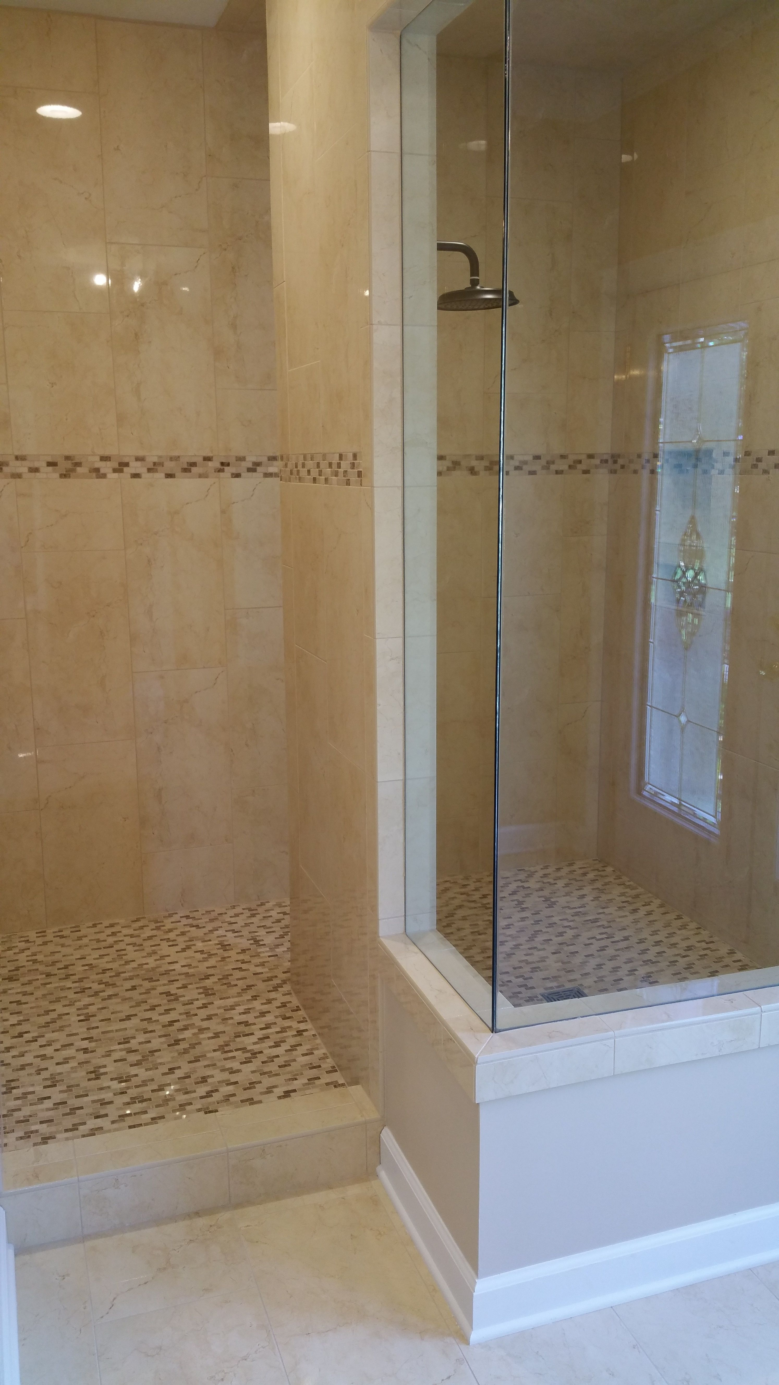 Master Bathroom Walk In Shower 12x24 Porcelain Tile On The Wallosaic Floor