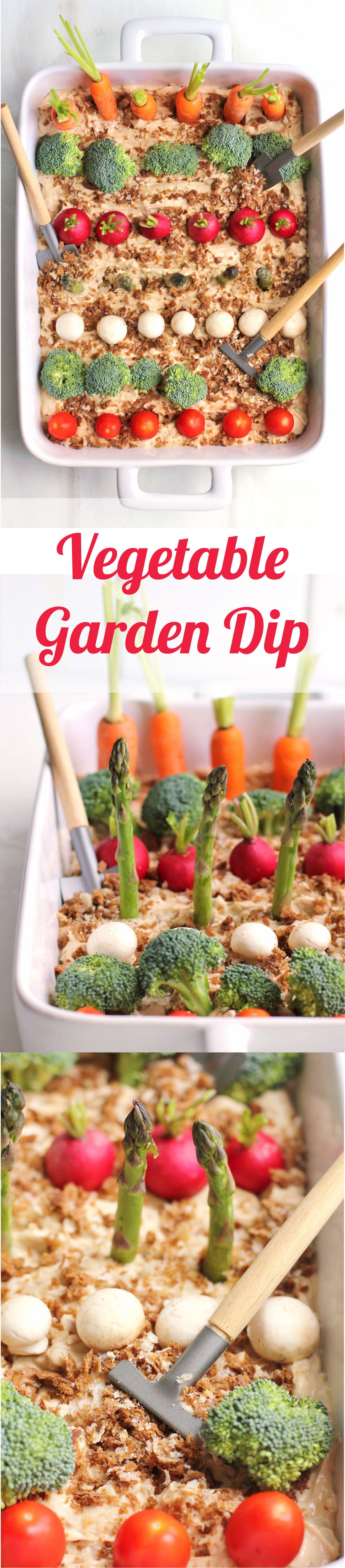 "This cute vegetable garden dip is perfect for a spring or summer party, shower or brunch! The ""dirt"" is classic onion dip topped with marble rye bread crumbs  