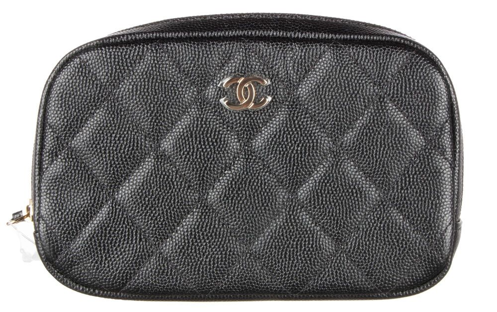 7dc1f62caa5023 CHANEL Black Caviar Quilted Small Curvy Pouch Cosmetic Case #fashion  #clothing #shoes #