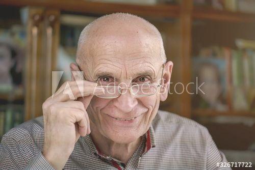 portrait of smiling senior man in glasses at home closeup , #ad, #senior, #smiling, #portrait, #man, #closeup #Ad