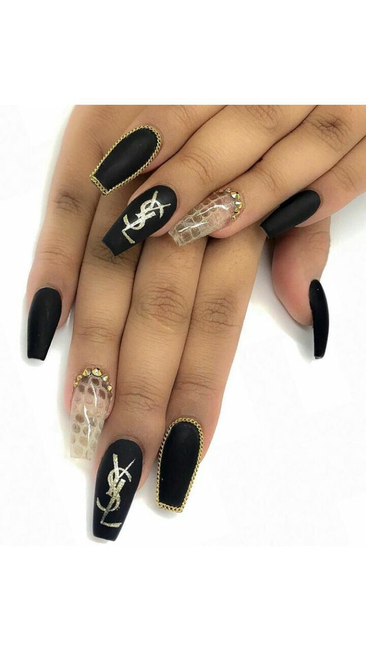 nailart nails art nailenthusiast nailinspiration nailgoals  coffinnails black blacknails yvessaintlaurent