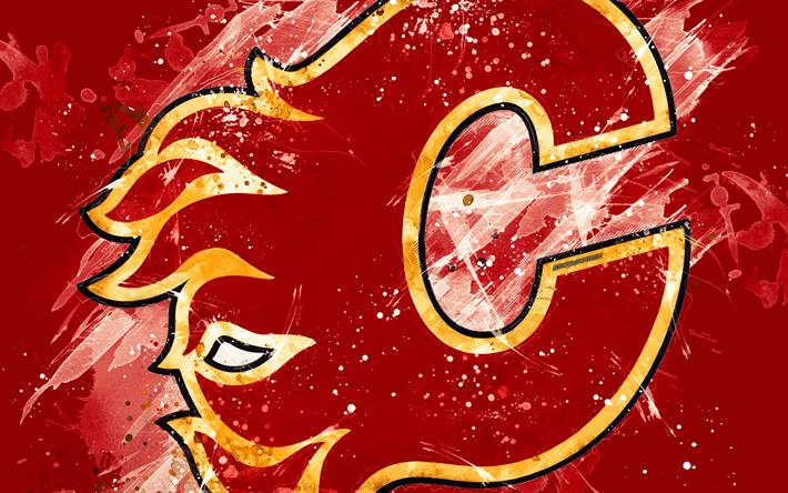 Download Wallpapers Calgary Flames 4k Grunge Art Canadian Hockey Club Logo Red Background Creative Art Emblem Nhl Alberta Canada Usa Hockey Western Grunge Art Calgary Flames Creative Art