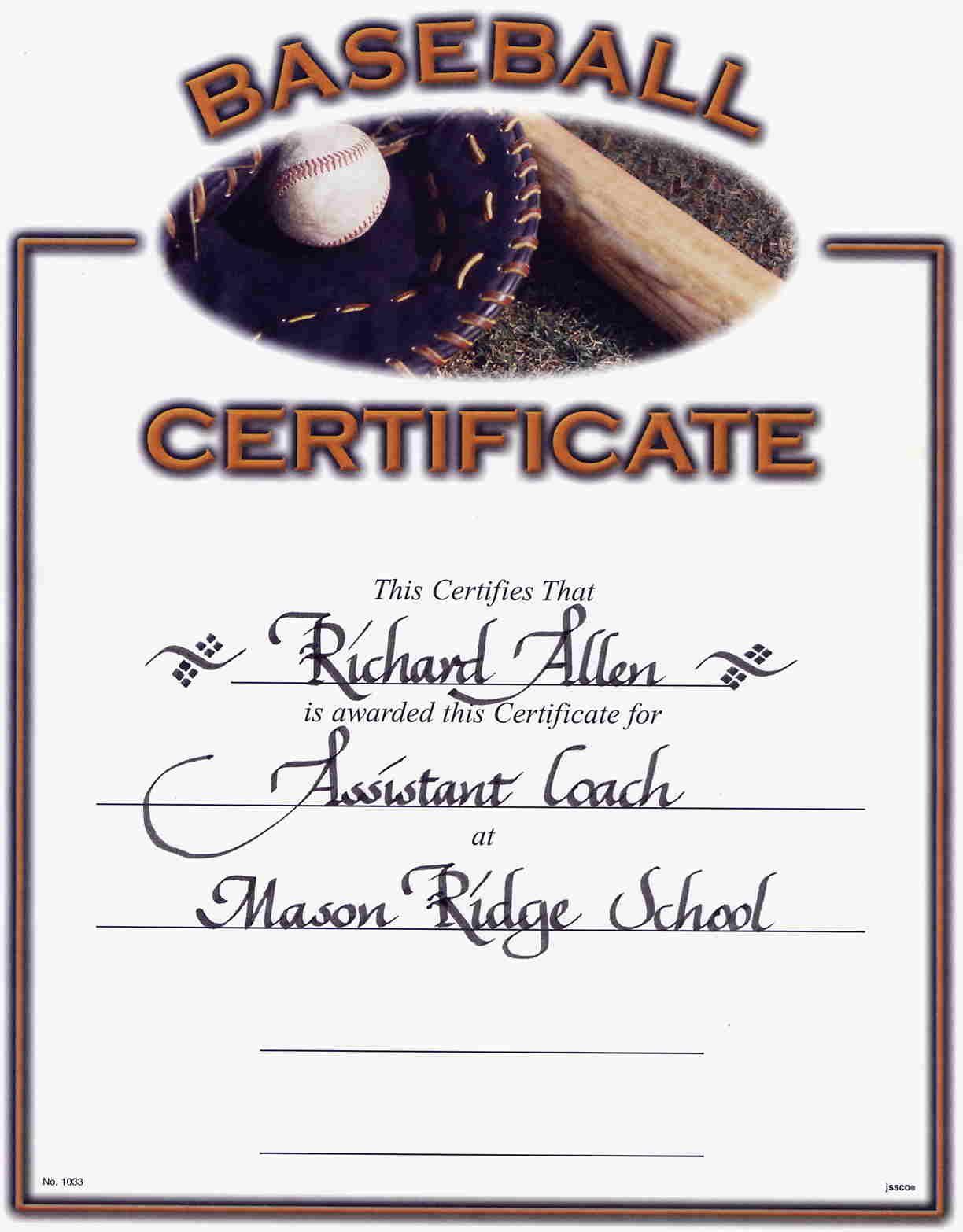 Little League Baseball Award Certificates