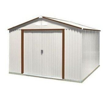 10x12 Del Mar Metal Shed Kit With Brown Trim Duramax Sheds Steel Storage Sheds Metal Storage Buildings