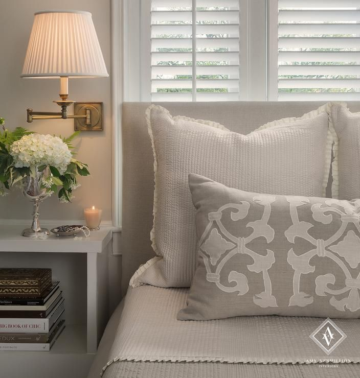 White and Grey Bedroom with White Open Nightstands, Traditional, Bedroom
