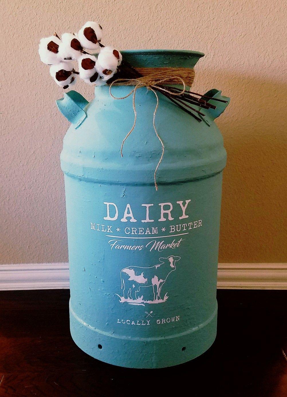 Vintage Milk Can. Milk jug, farmhouse decor, dairy cow