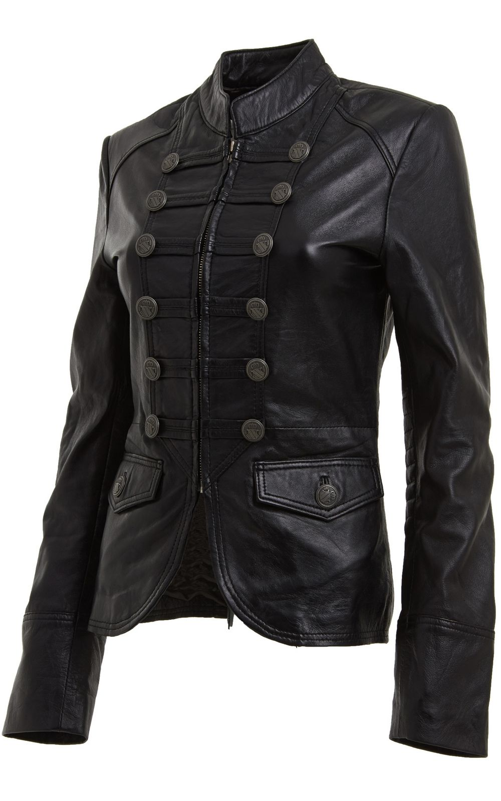 a5c3e3e9708 Womens Black Leather Blazer Jacket with Military Style front buttons ...