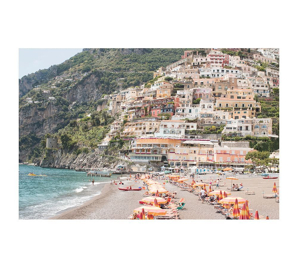 Beach Days in Positano Framed Print by Rebecca Plo