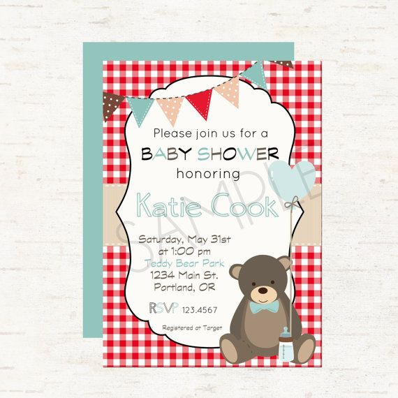 Teddy Bear Picnic Theme Baby Shower Invitation or Evite For a Boy – Teddy Bears Picnic Party Invitations