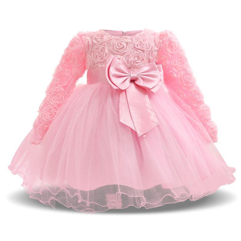 96d39b02878f9 Newborn Baby Girl 1 Year Birthday Dress Petals Tulle Toddler Girl ...
