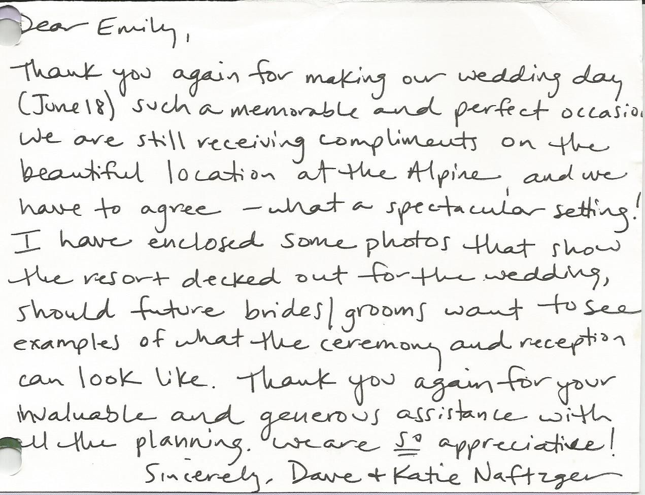 Wedding thank you note written to the Bertschinger Family at ...