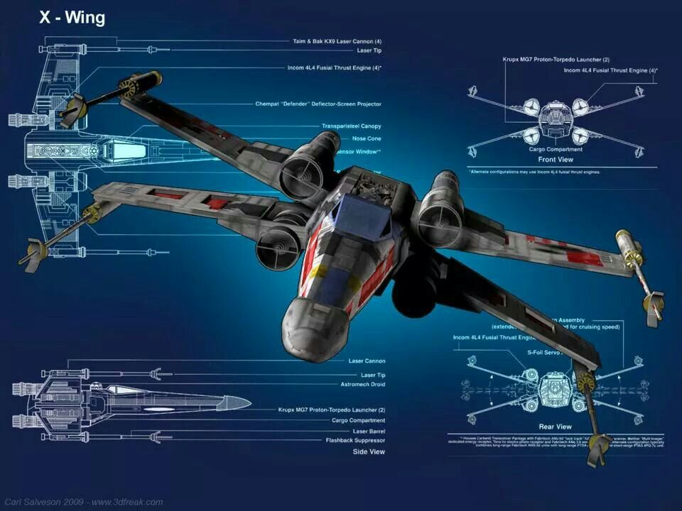 X Wing Fighter Cross Sections Star Wars Cross Sections