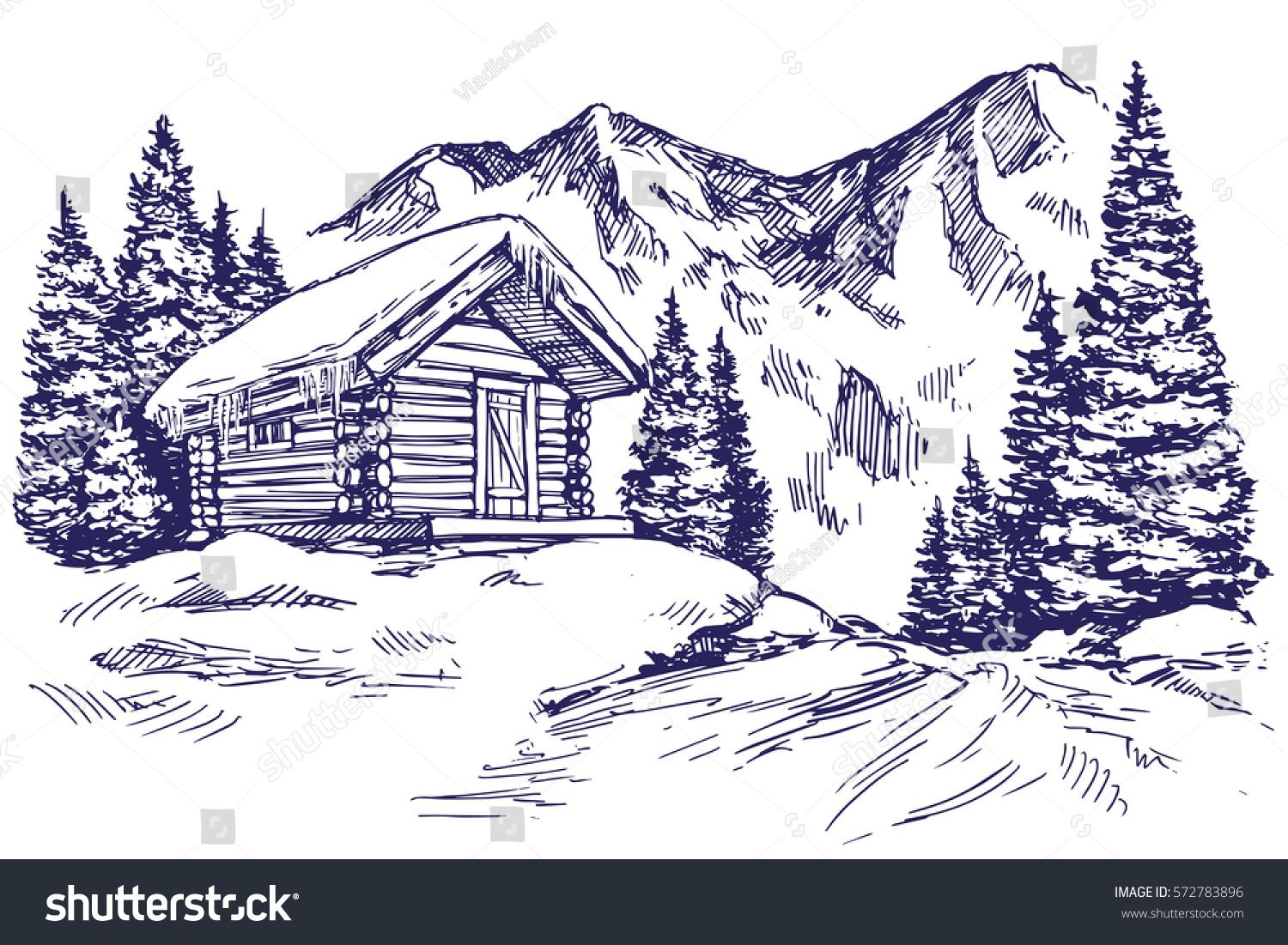 House In Mountain The Snow Landscape Hand Drawn Vector Illustration Sketch Cool Art Drawings Mountain Drawing Mountain Illustration