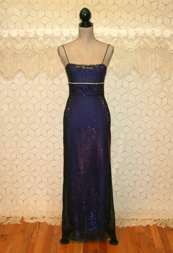 Vintage 90s Prom Dress Maxi XS Long