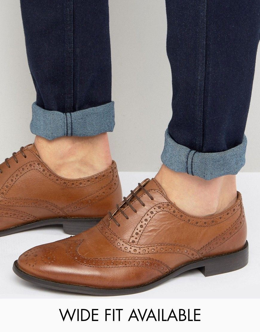 92a2710e4a85 DESIGN oxford brogue shoes in tan leather | Women's fashion | Shoes ...