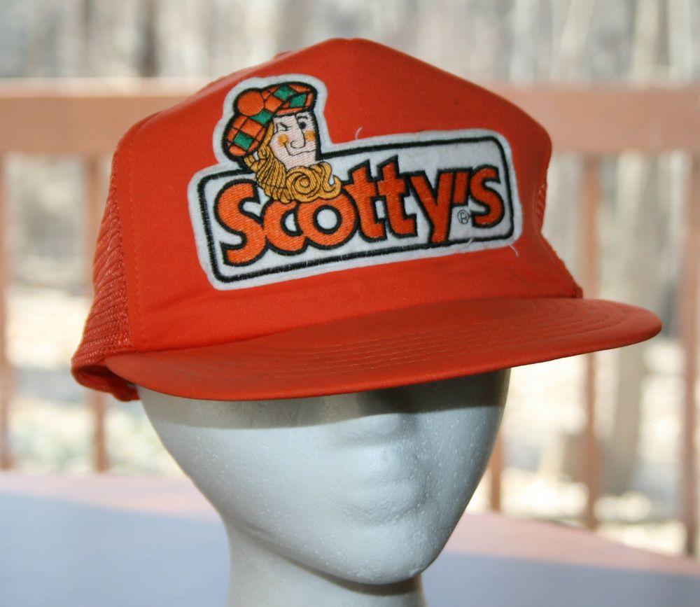 e52f47628ecd5 Vintage Scotty s Hardware   Lumber Orange Snapback Cap Hat-trucker  fishing Rare!