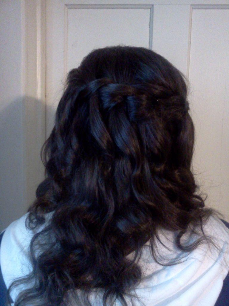 Waterfall braid w curls i did for my nieces semiformal i did
