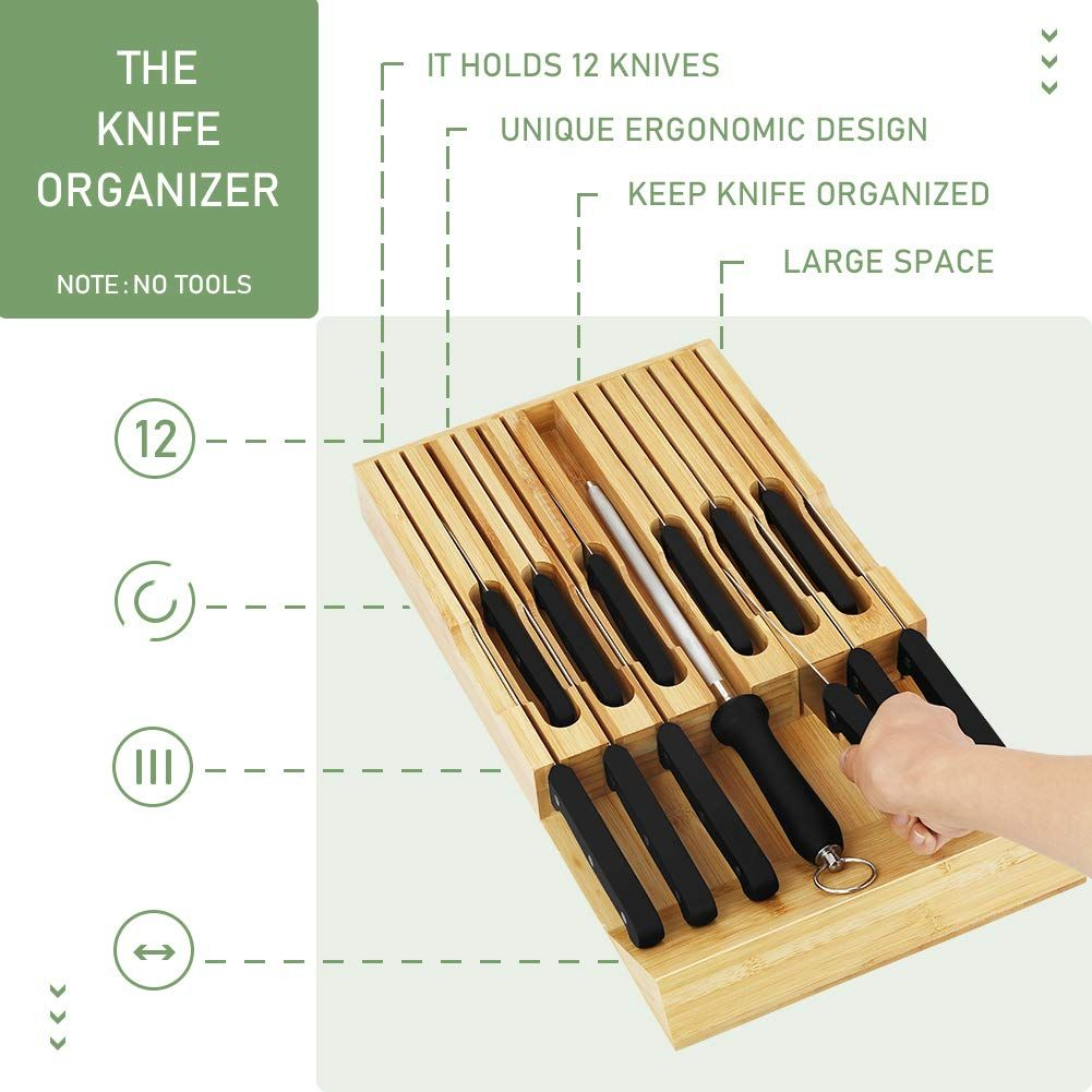 Greenvelly In Drawer Bamboo Knife Drawer Storage Set Check Out