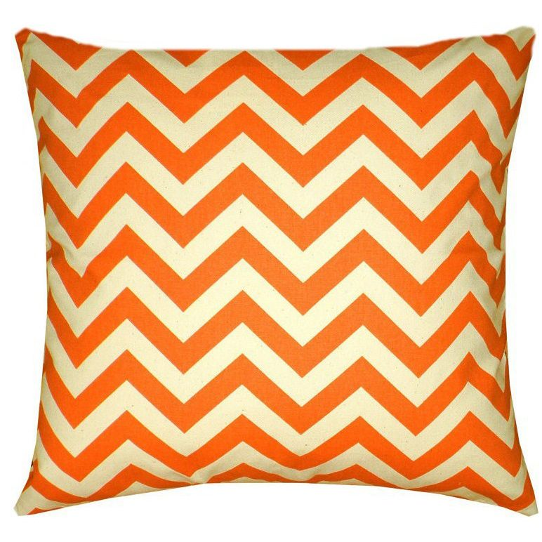 Spruce up the living room or any room in the home with this Mandarin Orange Chevron pillow cover made with only quality designer fabrics with the same print on both sides. Pillow covers are made with the easy envelope style opening in the back.
