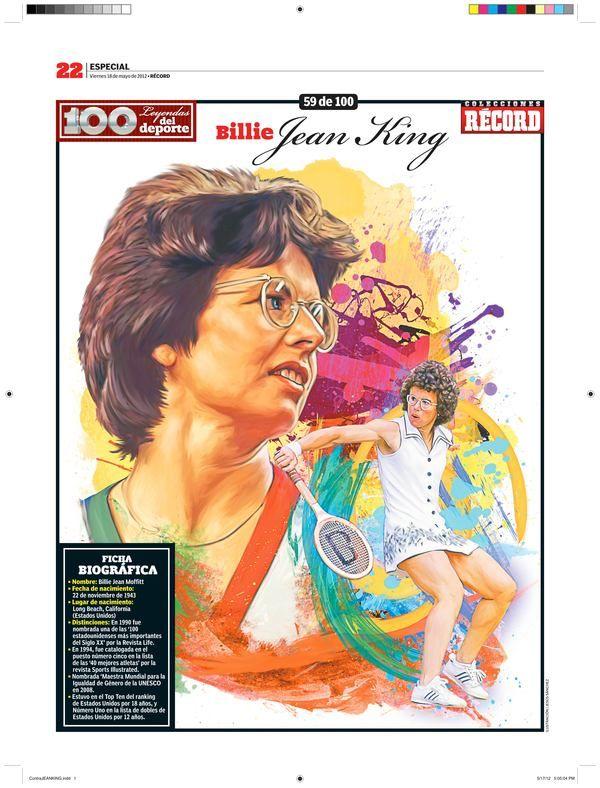 Billy Jean King 100 Leyendas Del Deporte 100 Sports Legends By Jesus R Sanchez Via Behance Kids Soccer Fun Sports Sports Art