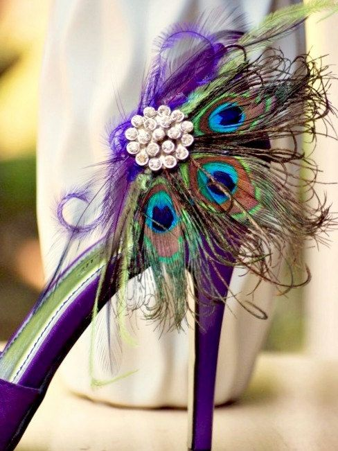Shoe Clips Peacock Fan Rhinestone Pearls Center Couture Bride Bridal Bridesmaid Peacock Shoes Purple Wedding Shoes Feather Shoes