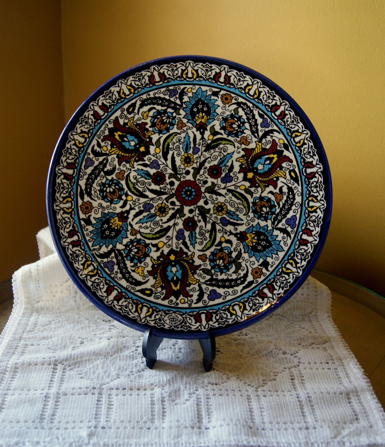 Vintage Decorative Plate, Kaleidoscope, Floral, Tamimi Ceramics, Pottery, Handmade Middle