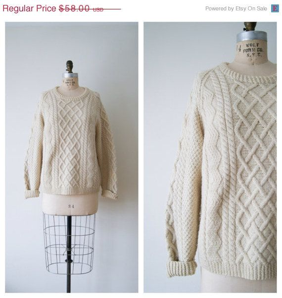 Vintage Fisherman's Sweater. Cream Cable Knit Wool Sweater. Chunky ...