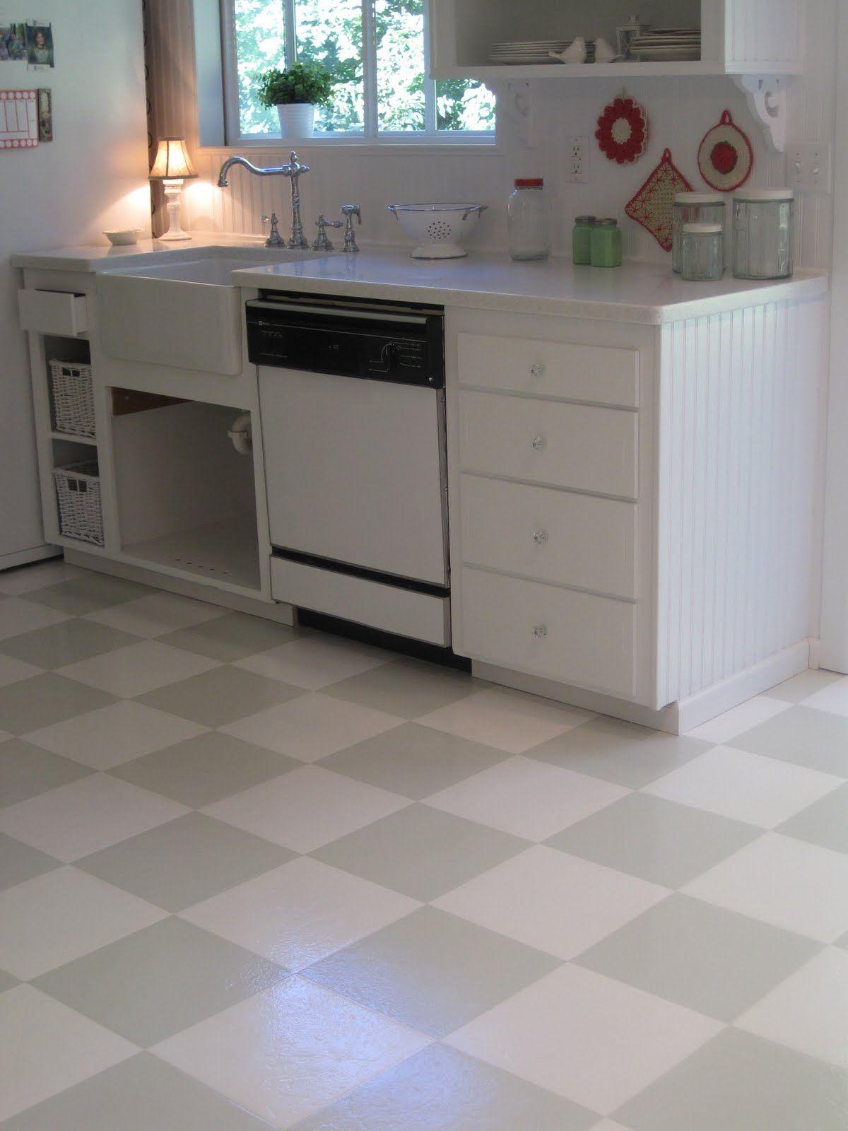 Kitchen Floor Checkerboard Vinyl Flooring Kitchen, Diy