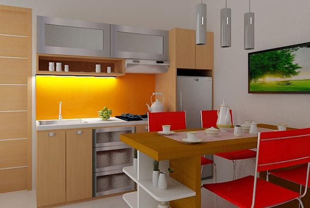 Desain Dapur Mungil Dan Kecil Minimalis Dengan Furniture