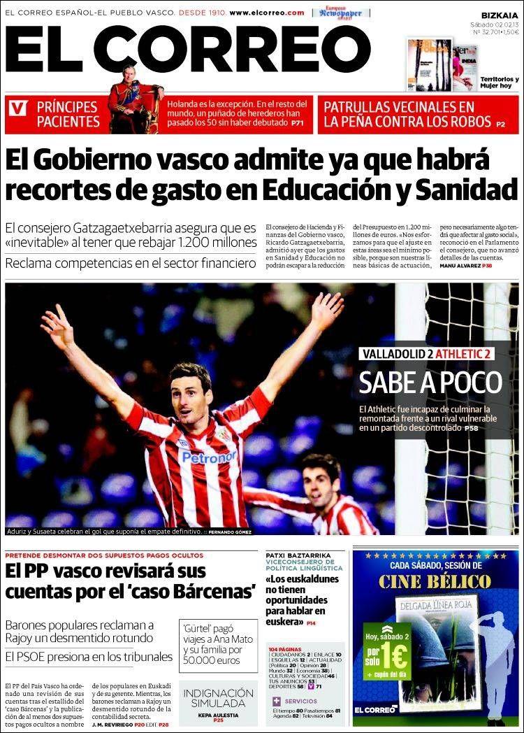 Los Titulares y Portadas de Noticias Destacadas Españolas del 2 de Febrero de 2013 del Diario El Correo ¿Que le parecio esta Portada de este Diario Español?