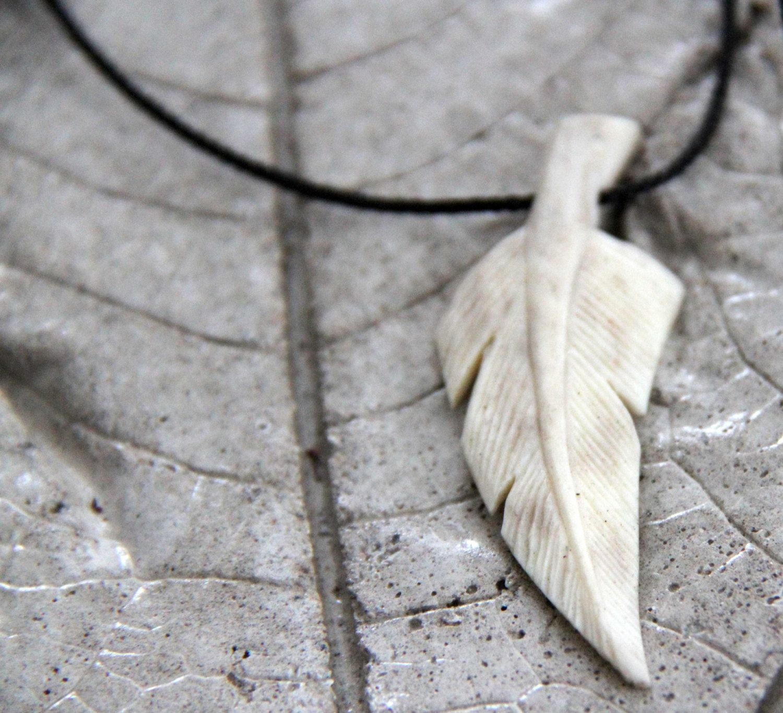 Free Shipping Carved Deer Antler Or Bone Feather Pendant Etsy Bone Carving Carving Antler Crafts