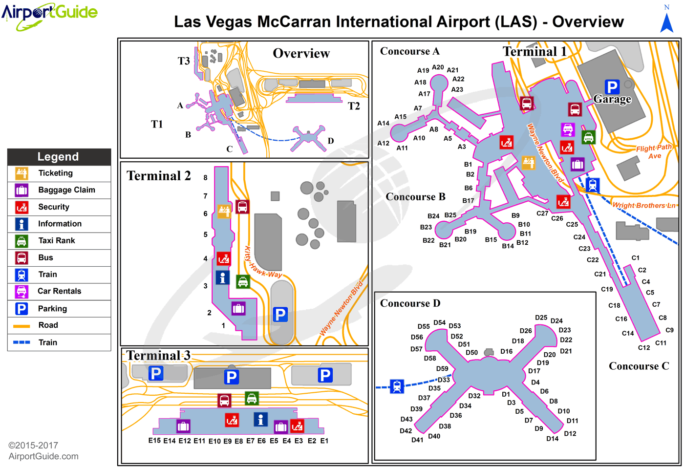 Las Vegas Mc Carran International Las Airport Terminal Map Overview Airport Guide Airport Map