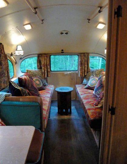 inside the short bus camper