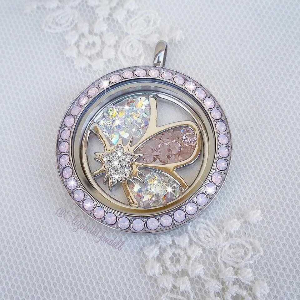 Origami owl locket w floating flower plate jewe oos origami owl locket w floating flower plate jeuxipadfo Choice Image