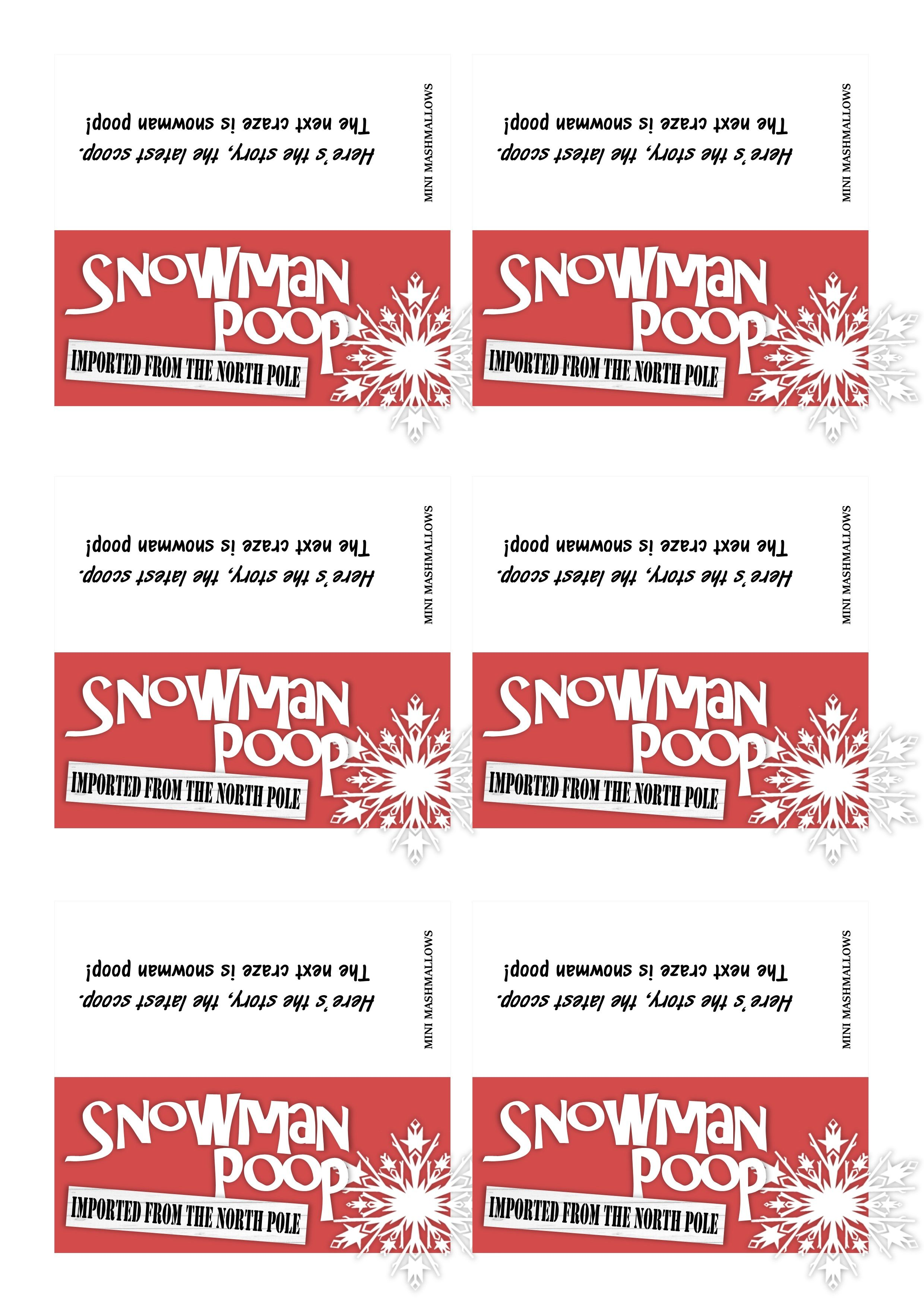 Snowman Poop Labels 4 X 9cm Once Folded For Clear Cellophane Sweet