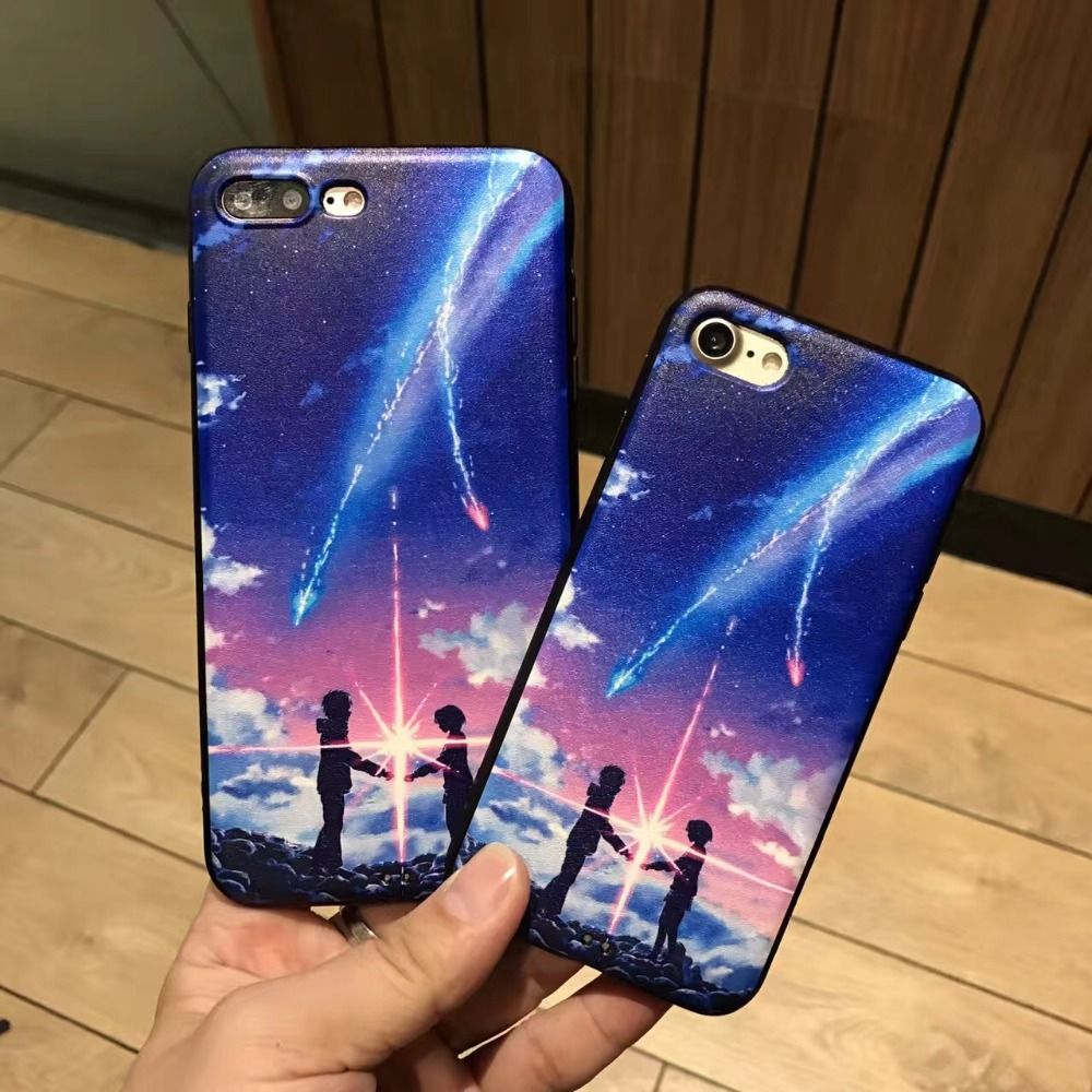 """New Arrival Japanese Anime """"Your name"""" Quadratic Element Phone Case For iphone 6 6s Plus 7 7Plus Protective Silicon Back Cover"""