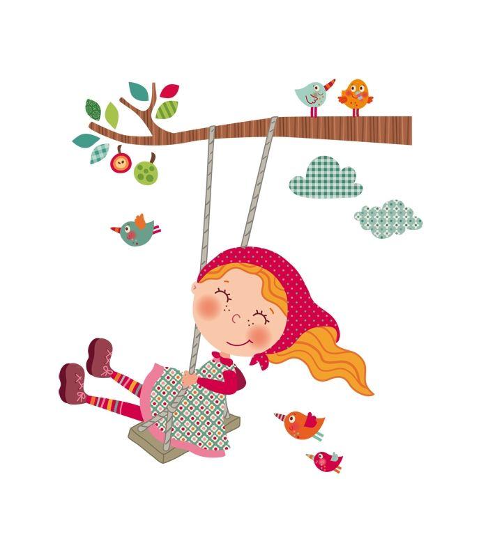 Vinilo infantil ni a columpio ilustraciones infantiles for Vinilos infantiles nina