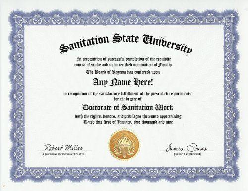 Sanitation Worker Degree: Custom Gag Diploma Doctorate Certificate ...