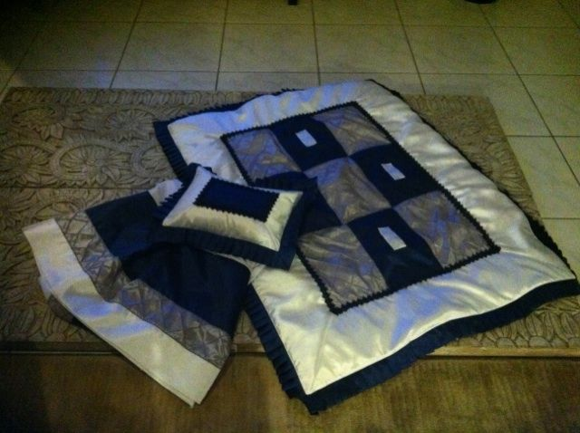 Custom made Baby bedding using antique satin in navy, gray, and white