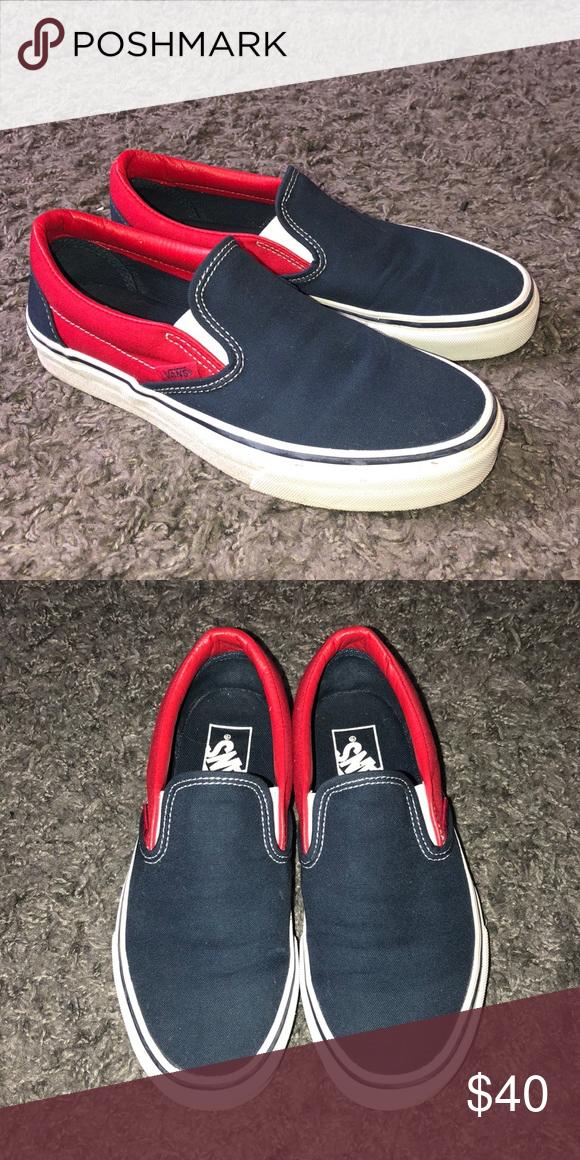 Navy blue and Red VANS | Red vans, Vans