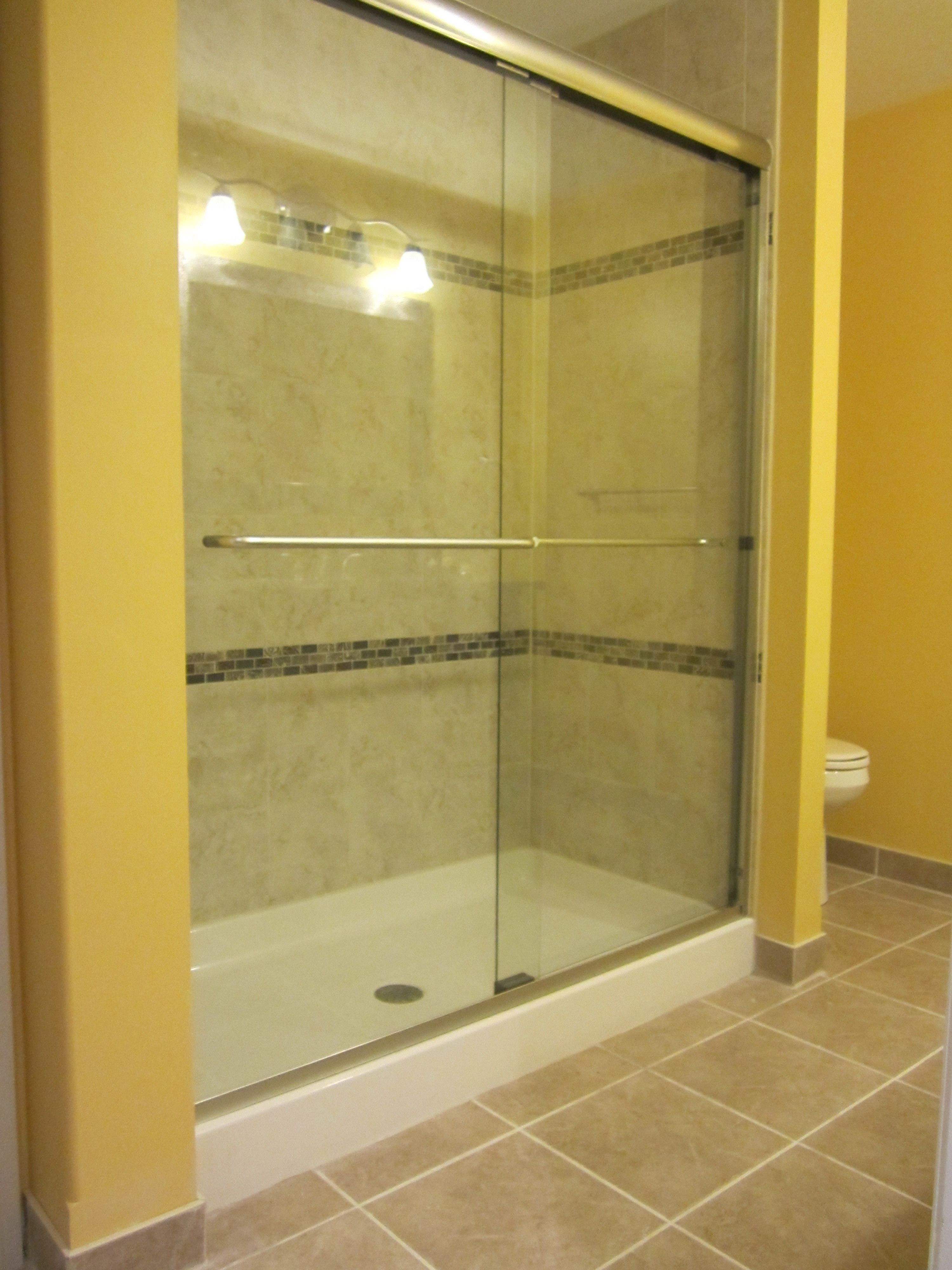 We Built This Custom Shower Into A Basement Bathroom With A Fiberglass Base  And Custom Tile