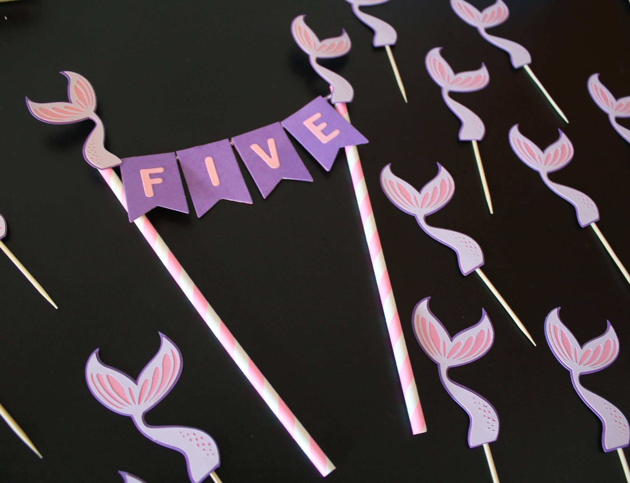 Mermaid Cake Bunting Toppers Cake bunting topper